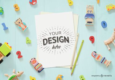 Toys paper sheet mockup composition