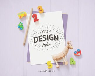 Paper sheet toys mockup composition