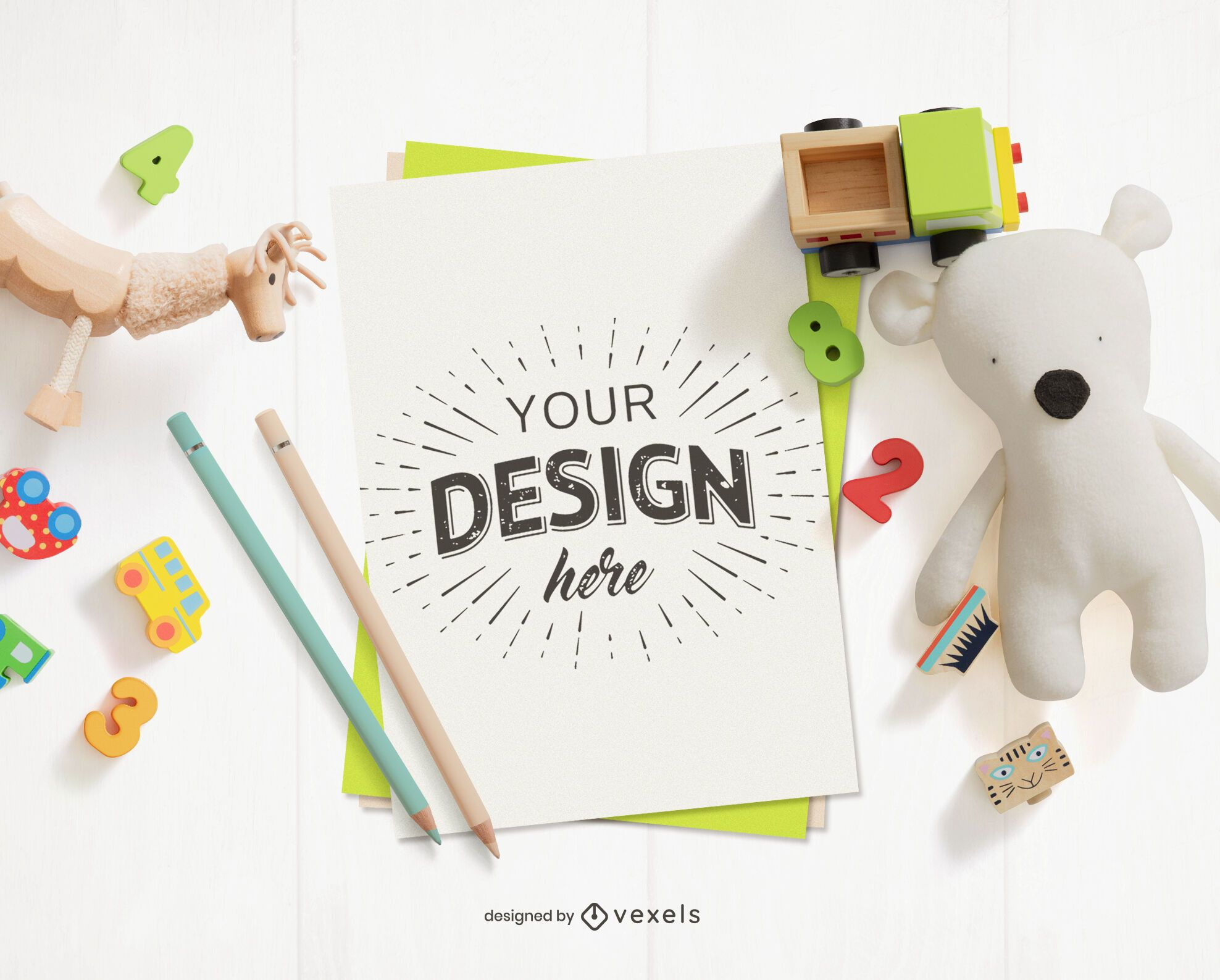 Toys paper mockup composition