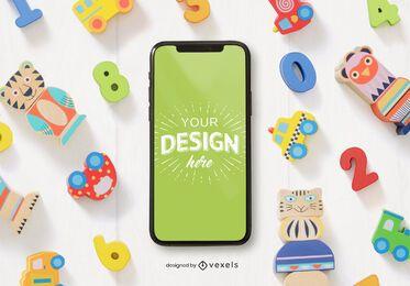 Composición de maqueta de teléfono de juguetes