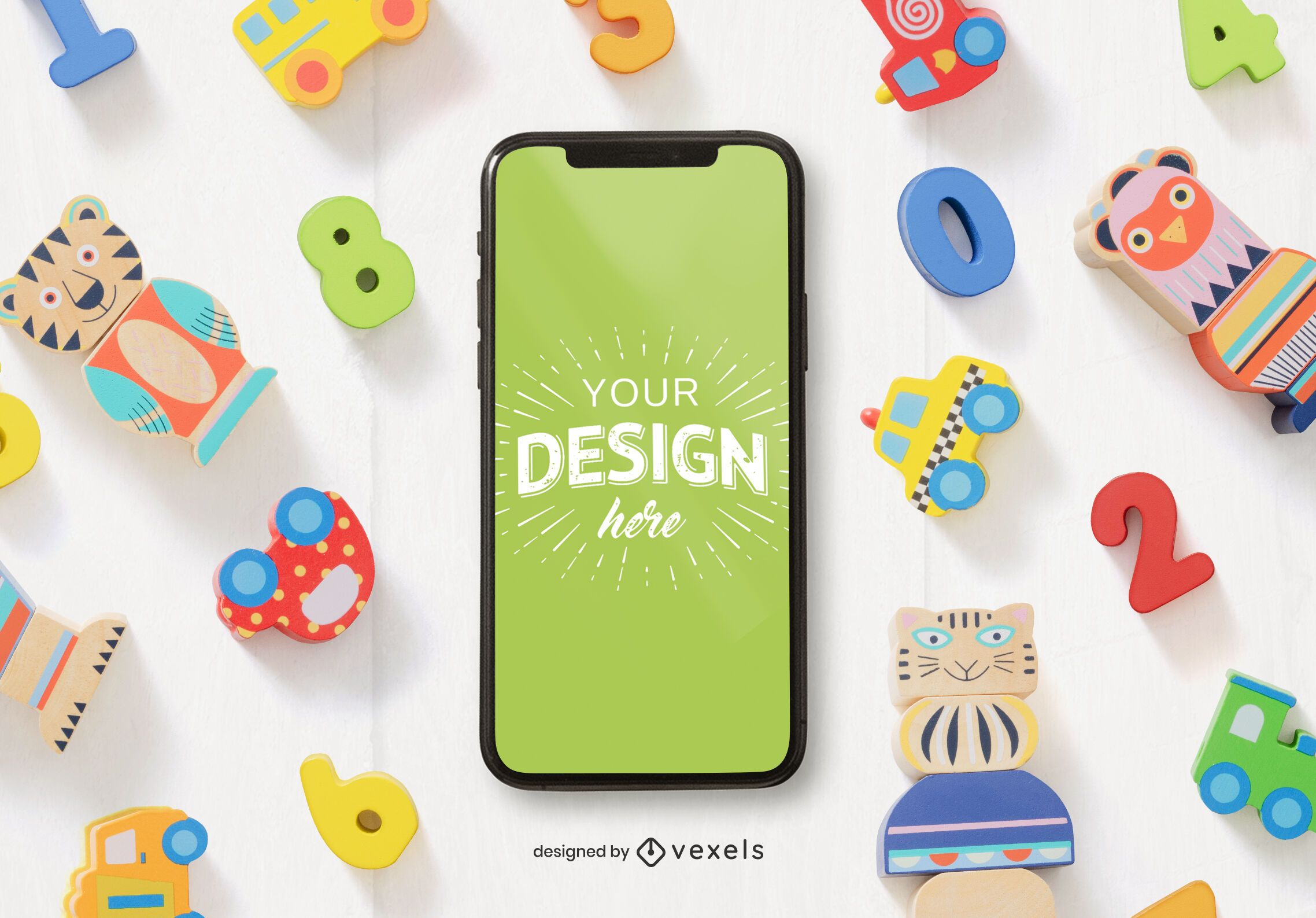 Toys phone mockup composition