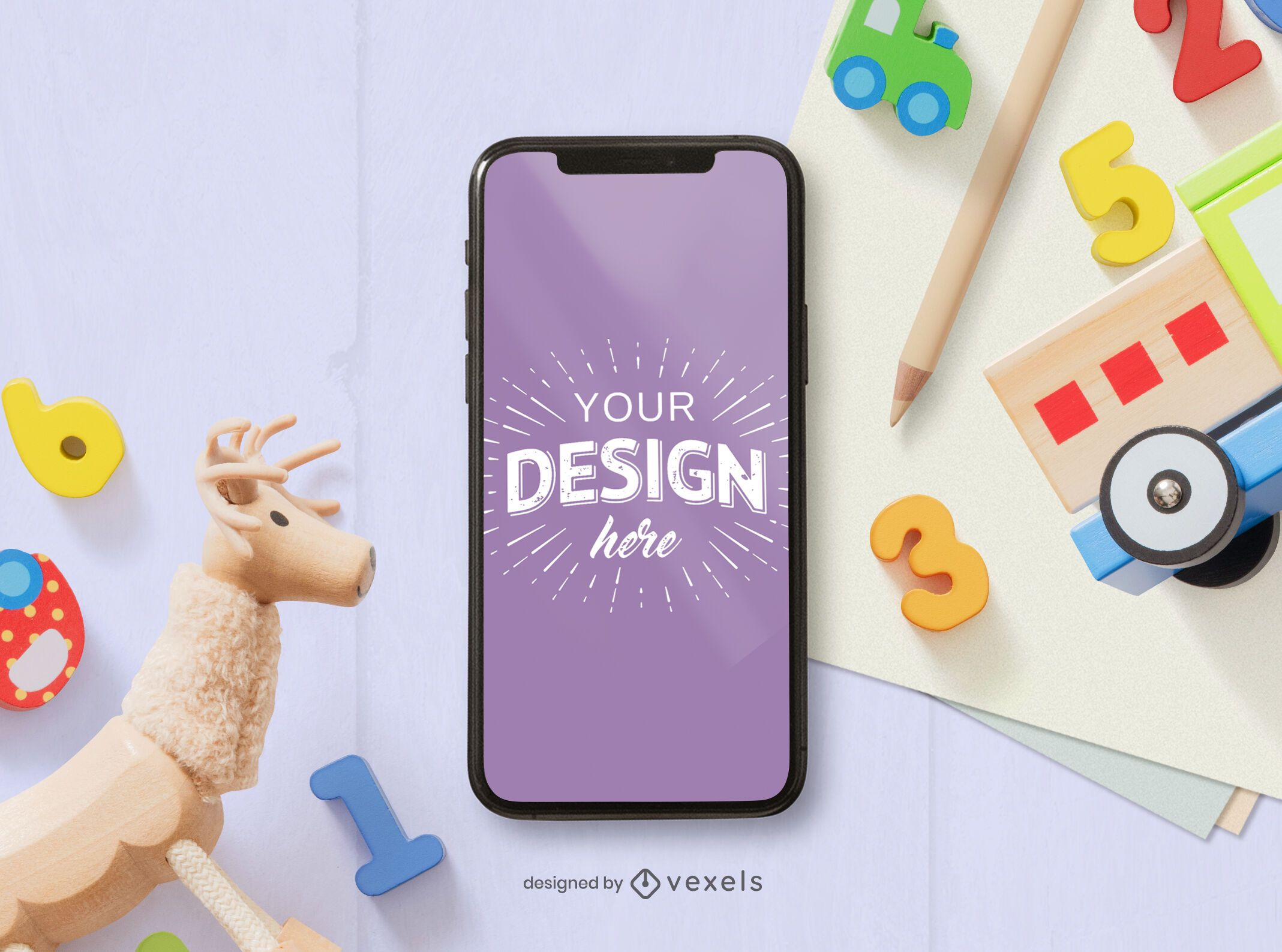 Phone toys mockup composition