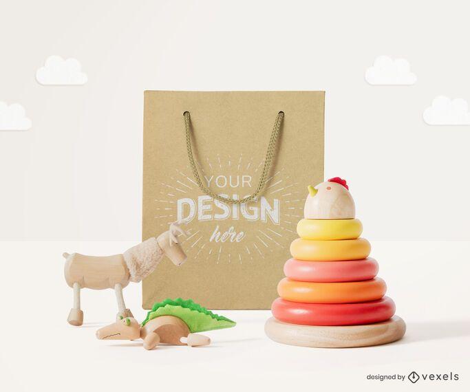 Composição de maquete de brinquedos de sacola de papel