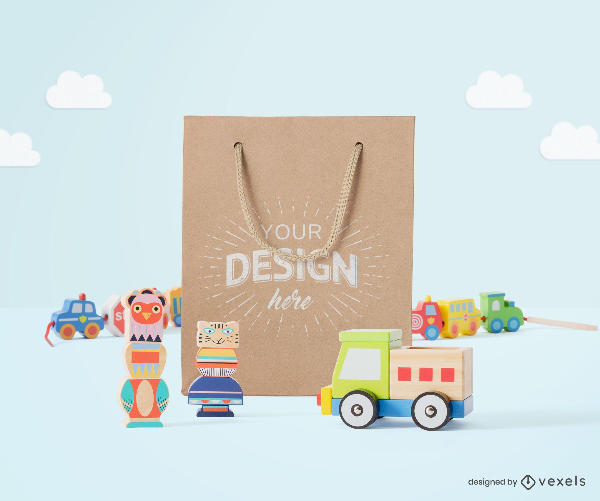 Childrens toys paper bag mockup composition