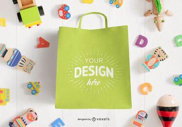Composición de maqueta de bolsa de compras de juguetes