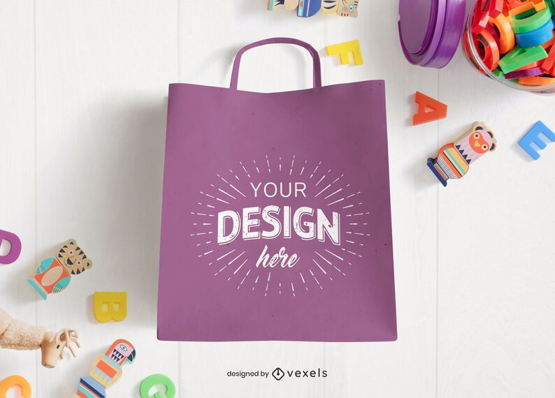 Shopping bag toys mockup composition
