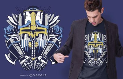 Giant robot t-shirt design