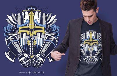 Riesiges Roboter-T-Shirt Design
