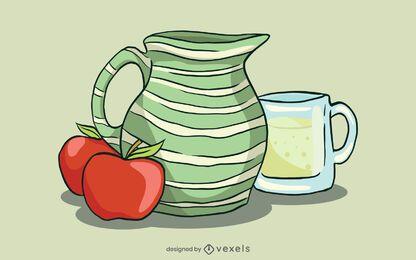 Ilustración de tarro de sidra de manzana