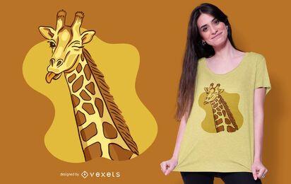 Design do t-shirt do girafa piscando