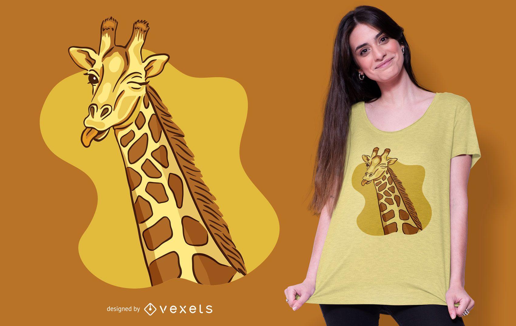 Design de camiseta do girafa piscando