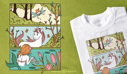 Design de t-shirt de floresta encantada