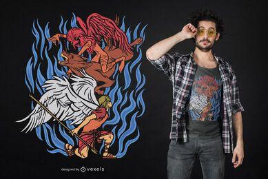 Design de t-shirt de demônio anjo