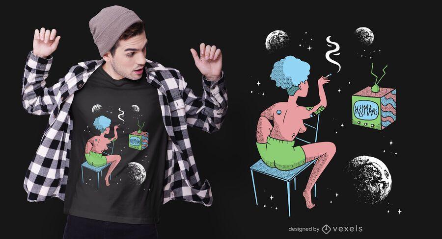 Diseño de camiseta de mujer en el espacio