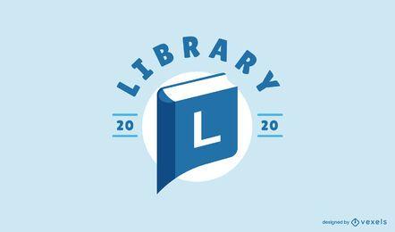 Design de logotipo de marcador de biblioteca