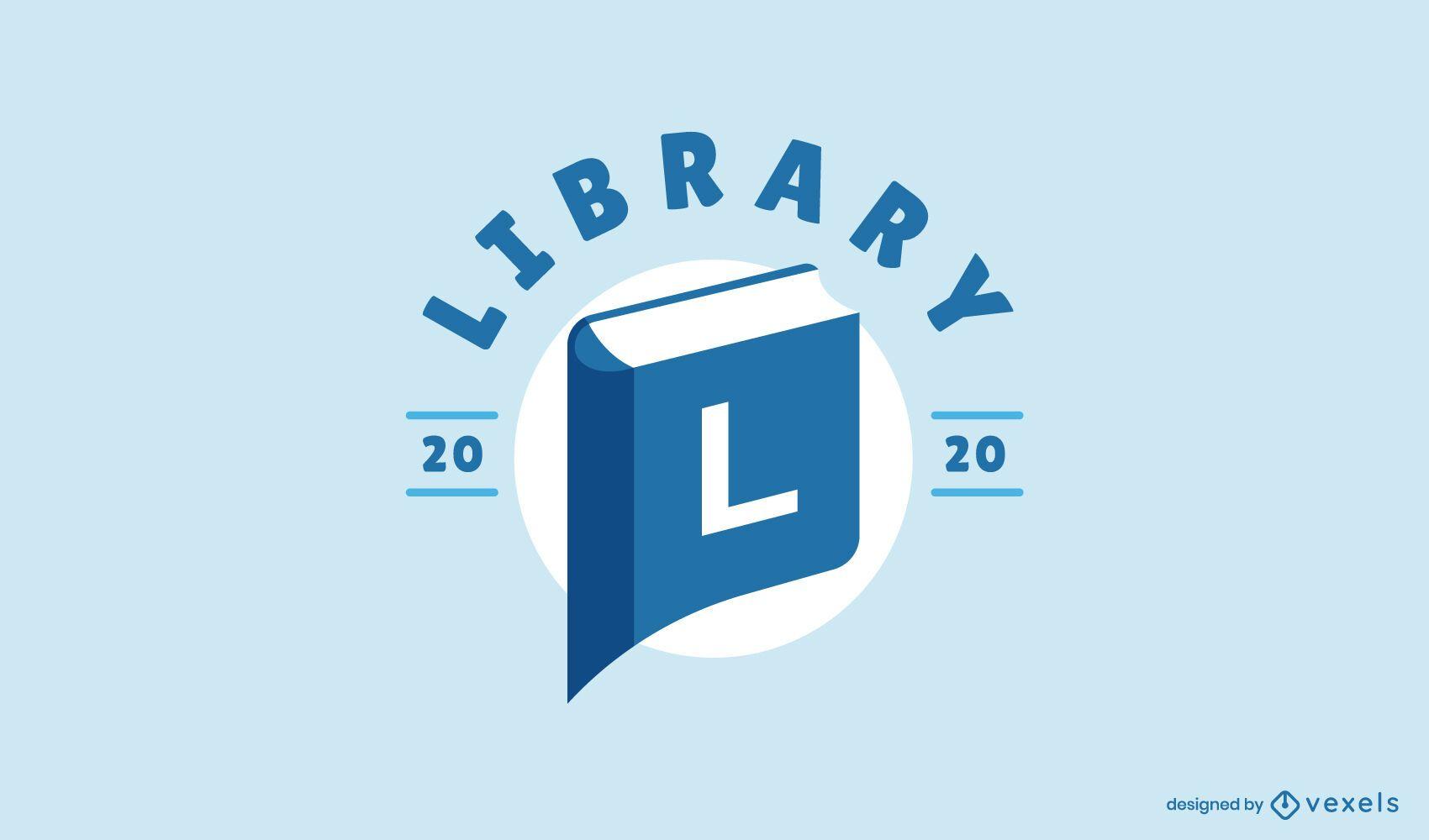 Diseño de logotipo de marcador de biblioteca