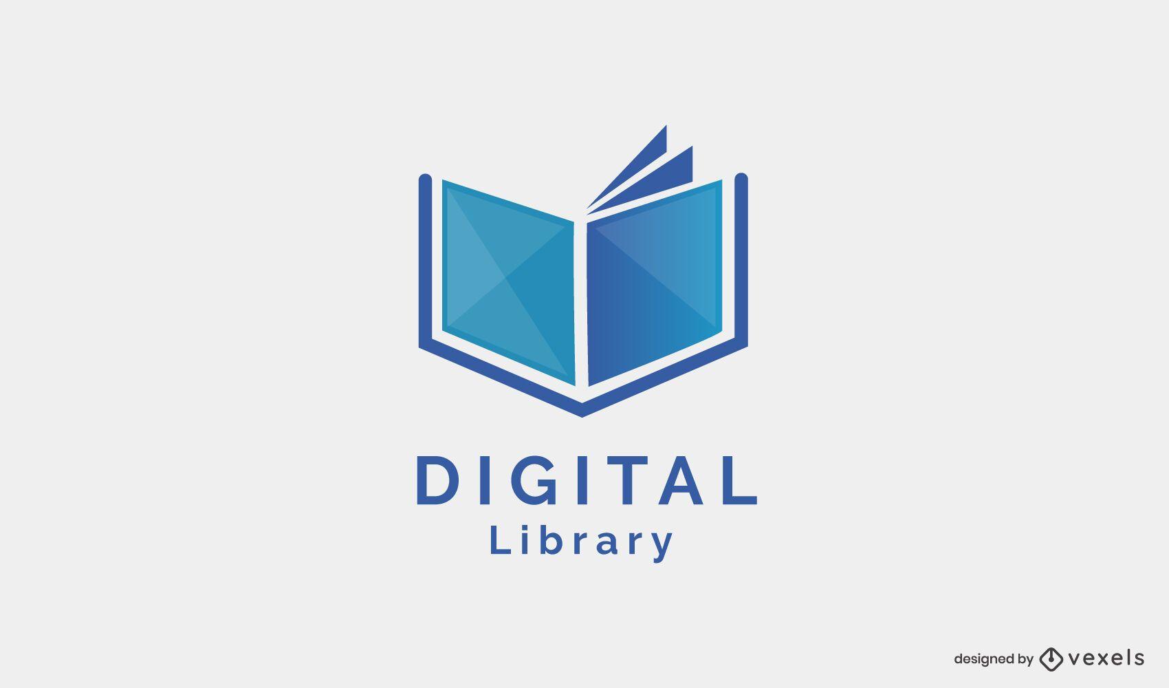 Design de logotipo de biblioteca digital