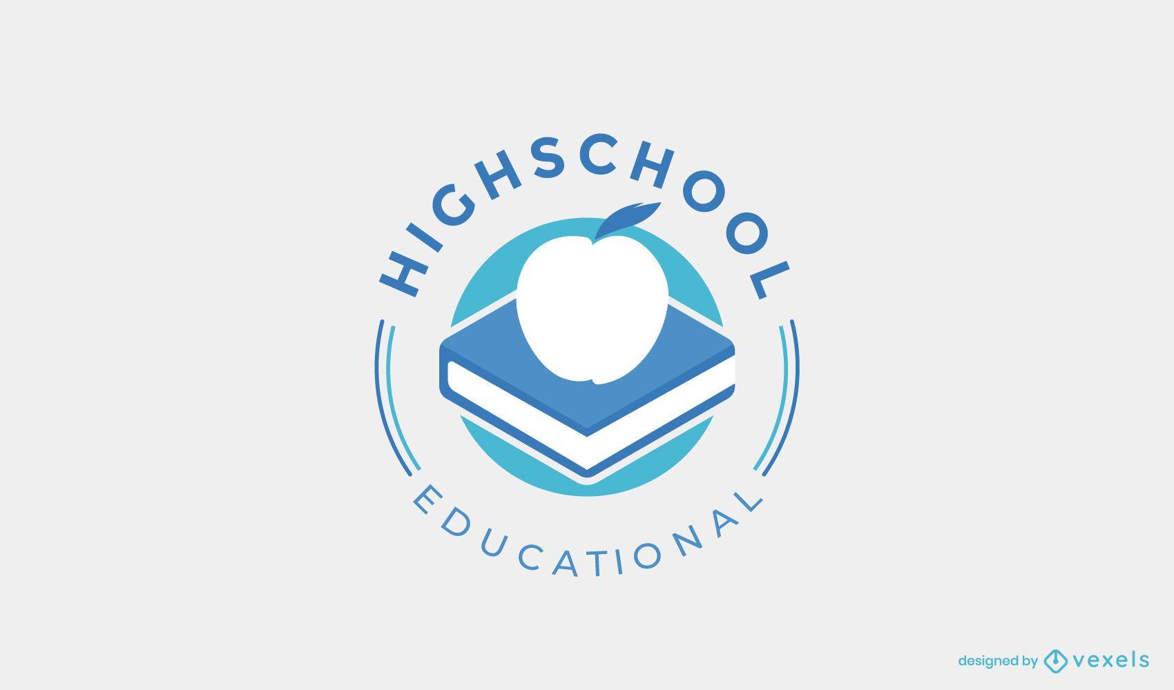 Design de logotipo da biblioteca do ensino médio