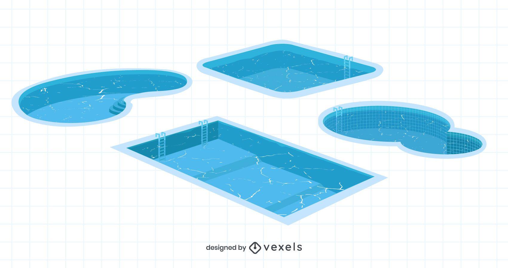 Pacote de ilustração de piscina