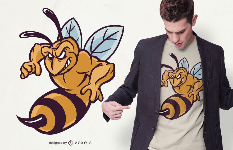 Angry bee t-shirt design