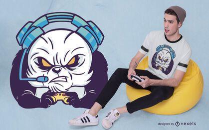 Diseño de camiseta gamer panda