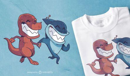 Diseño de camiseta de dinosaurio tiburón amigos