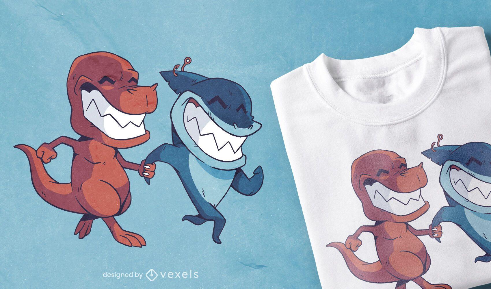 Diseño de camiseta de amigos de tiburón dinosaurio.