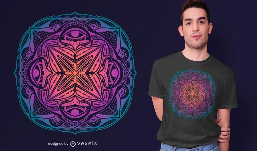 Design colorido do t-shirt da mandala