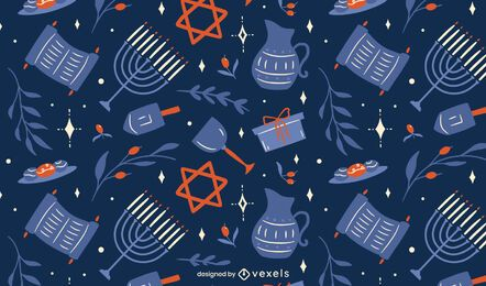 Design de padrão de elementos de Hanukkah