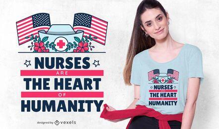 Diseño de camiseta con letras de enfermeras
