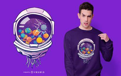 Design de camiseta de capacete de astronauta