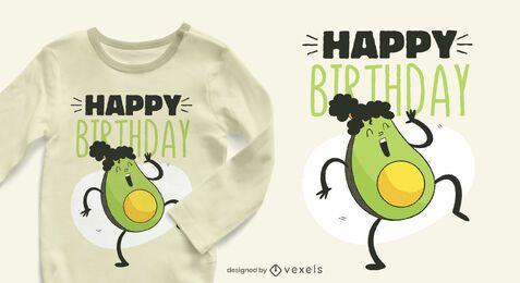 Diseño de camiseta de cumpleaños de aguacate