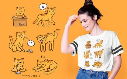 Cat moods t-shirt design
