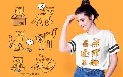 Design de t-shirt de humor de gato