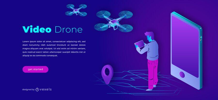 Plantilla de control deslizante de video drone