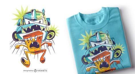 Design de t-shirt de livro de caminhão monstro