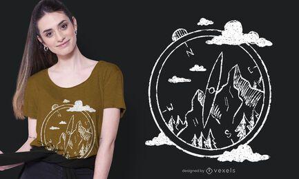 Diseño de camiseta de brújula montañas