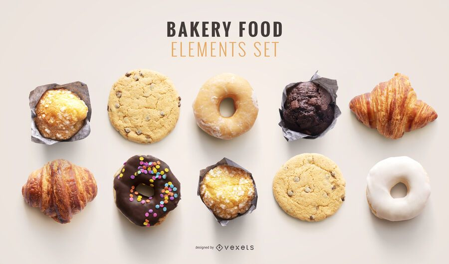 Bakery food psd elements for mockups