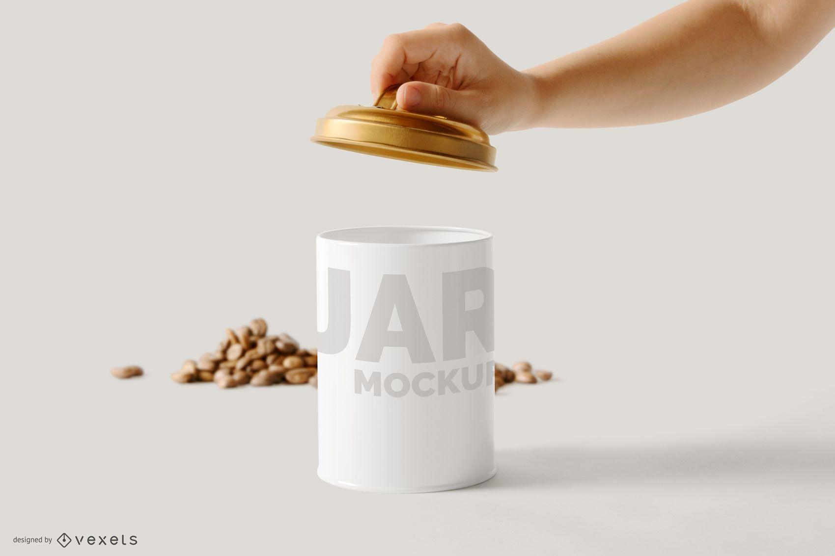 Jar Open Mockup Design