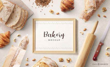 Composición de maqueta de marco de panadería