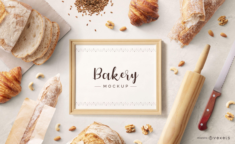Composição de maquete de quadro de padaria