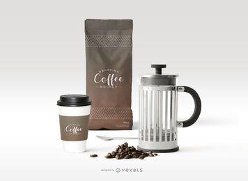 Composición de maqueta de marca de café