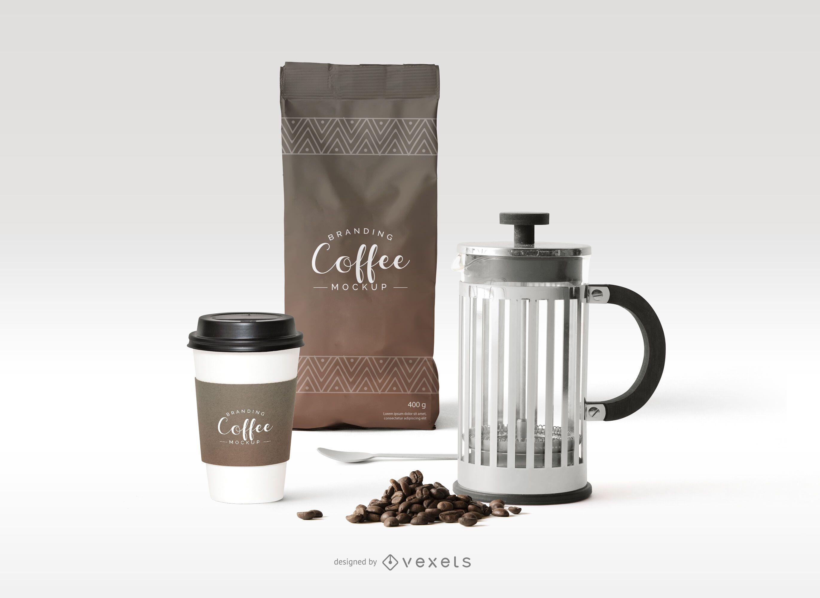 Composição da maquete da marca do café