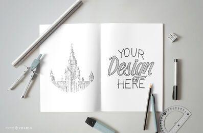 Composição de maquete de esboço de desenho