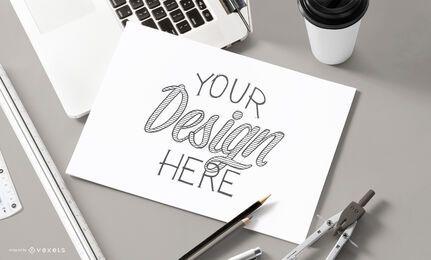 Desenho de maquete de papel de esboço
