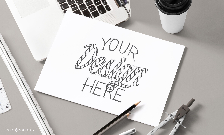 Sketch paper mockup design