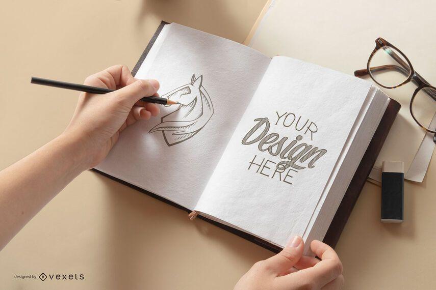Sketch book mockup composition