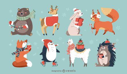 Conjunto de animais de Natal fofo