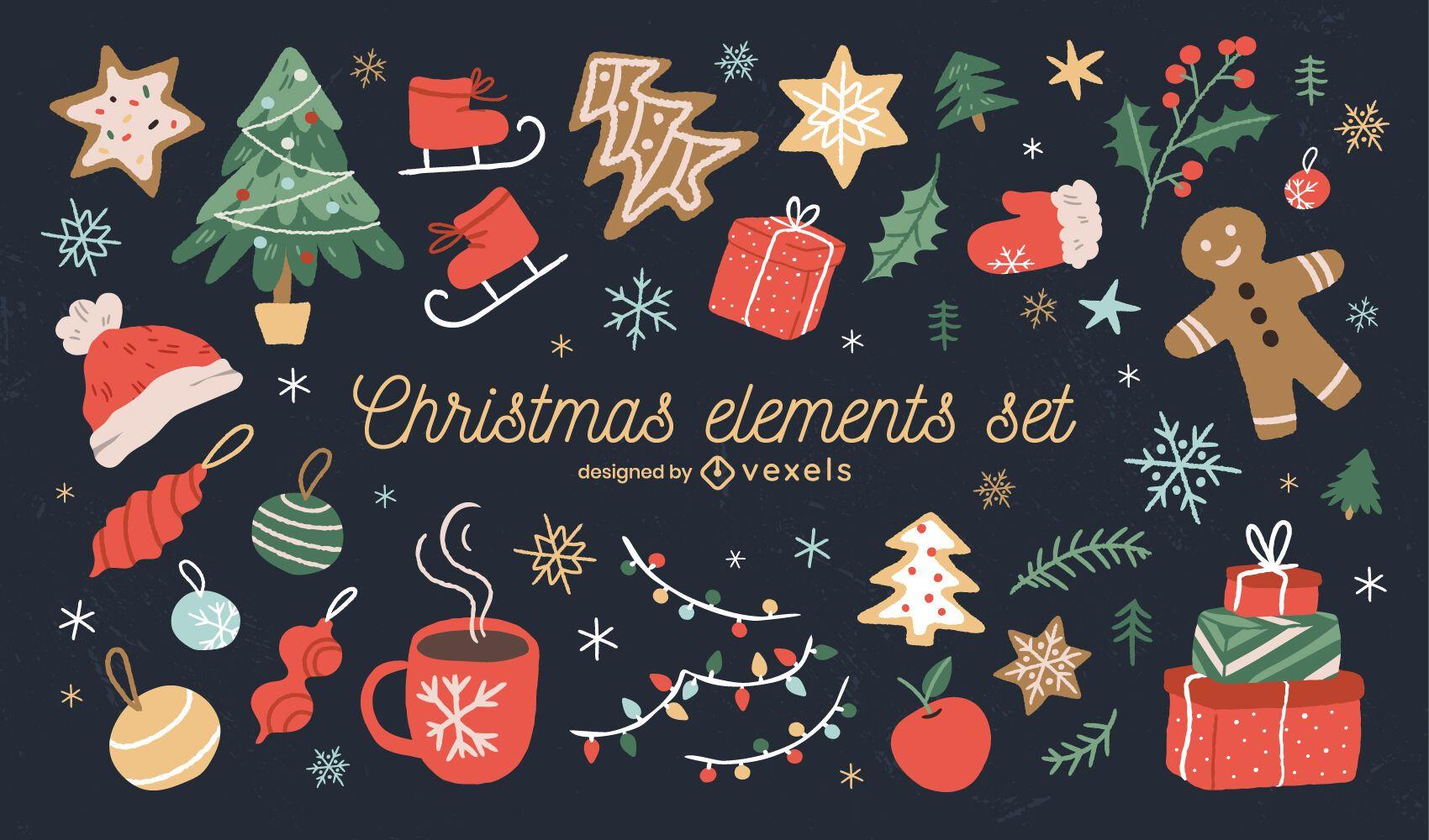 Christmas elements holiday illustration set