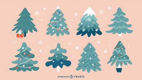Conjunto de ilustración de árboles de Navidad